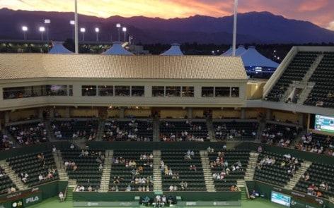 Sunset on Stadium-2 at the Indian Wells Tennis Garden
