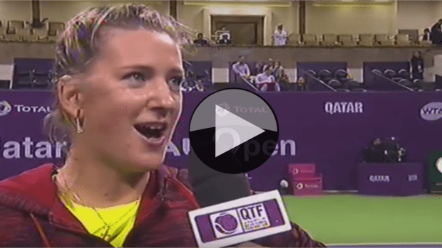 Doha 2015. Announcer Impersonation. Victoria Azarenka