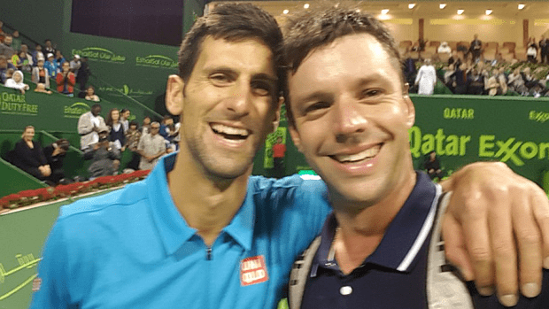 Horacio Zeballos. The post match selfie with Novak Djokovic
