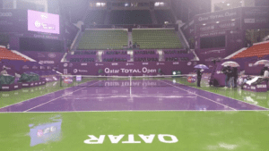 Rain. An inescapable challenge for the Qatar Total Open 2017. (Photo: Marius Borning)