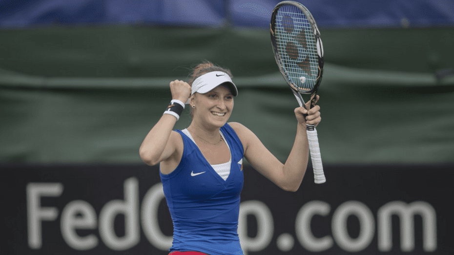 Only 17-years-old, Marketa Vondrousova. Yet another talented Czech Southpaw. © Susan Mullane