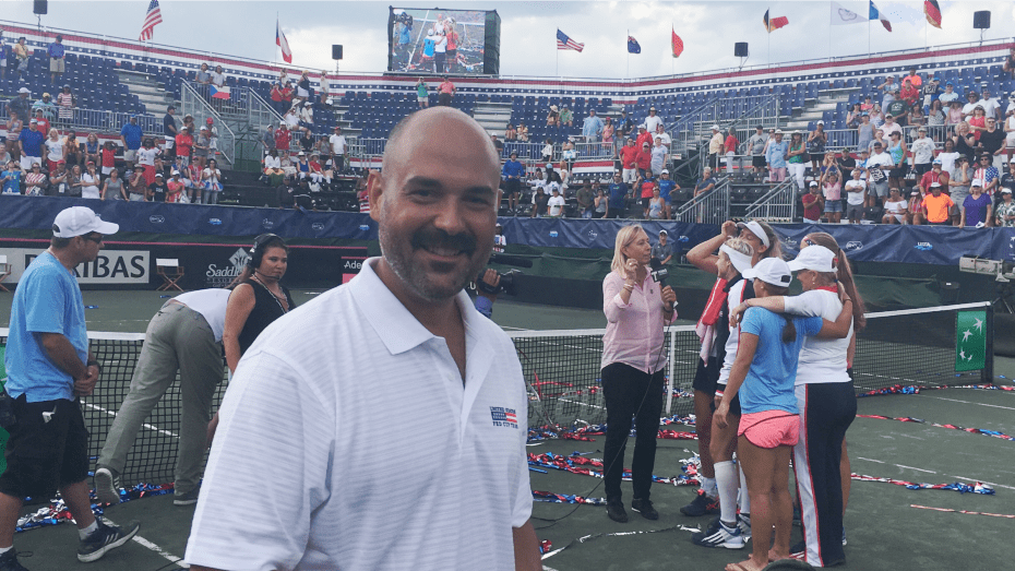 Andy Taylor. His 15th year as Stadium Announcer for U.S. based Fed Cup Ties.