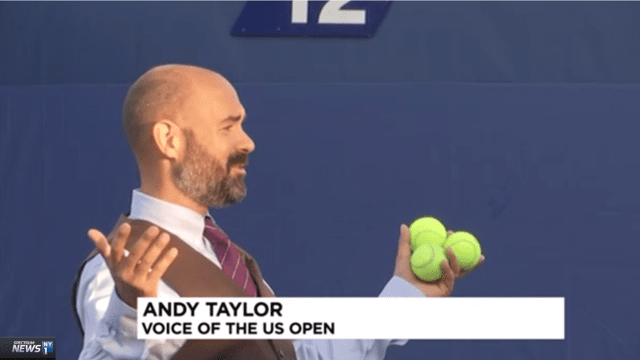 Andy Taylor. Tennis Emcee. 2017 US Open. Day-1. Morning television interview with NY1