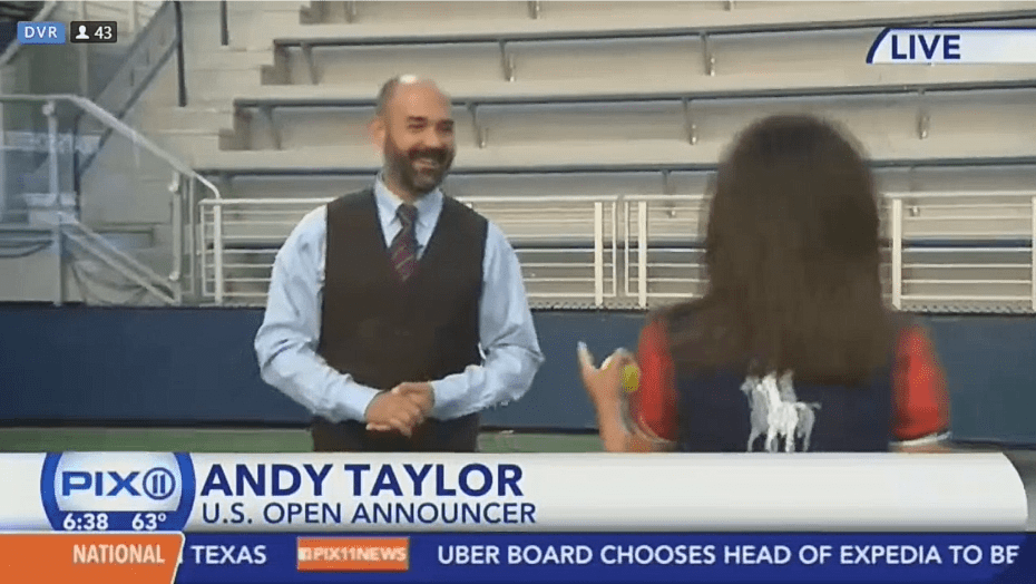 Andy Taylor. Tennis Emcee. 2017 US Open. Day-1. Morning television interview with PIX11