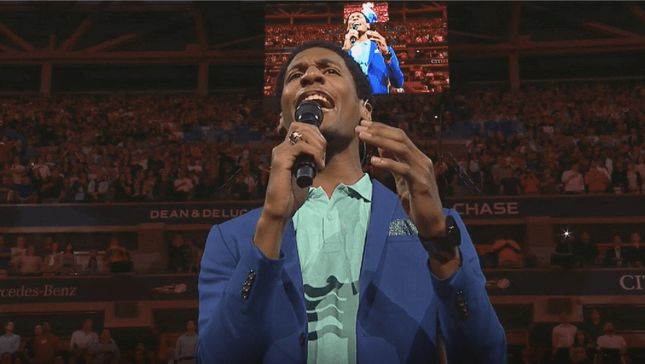Andy Taylor. Tennis Announcer. 2017 US Open. Day-1. Opening Night. Jon Batiste performs the National Anthem
