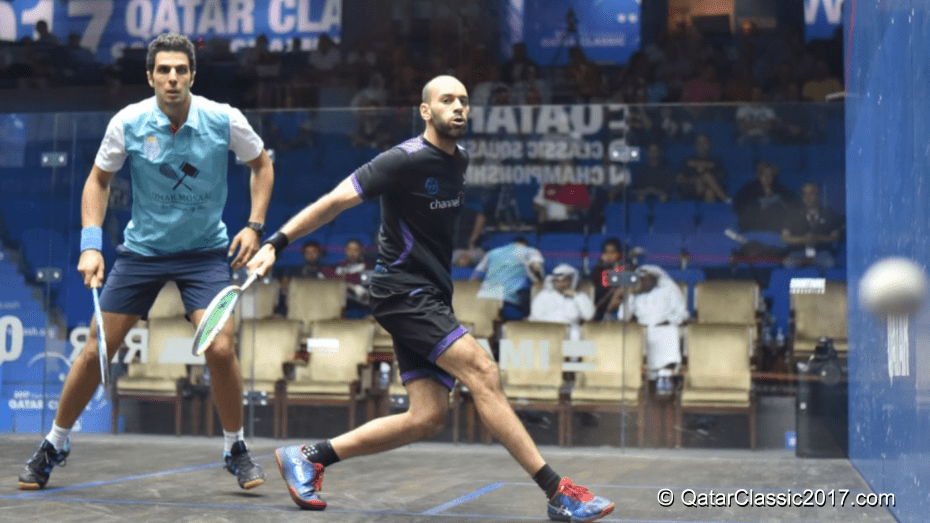 Andy Taylor. Squash Host. Qatar Classic Squash Championship. Day 3. Round of 16. Marwan ElShorbagy