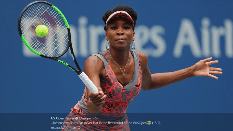 Andy Taylor. Sports Announcer. 2017 US Open. Round-1. Day-1. Venus Williams defeats Viktoria Kuzmova