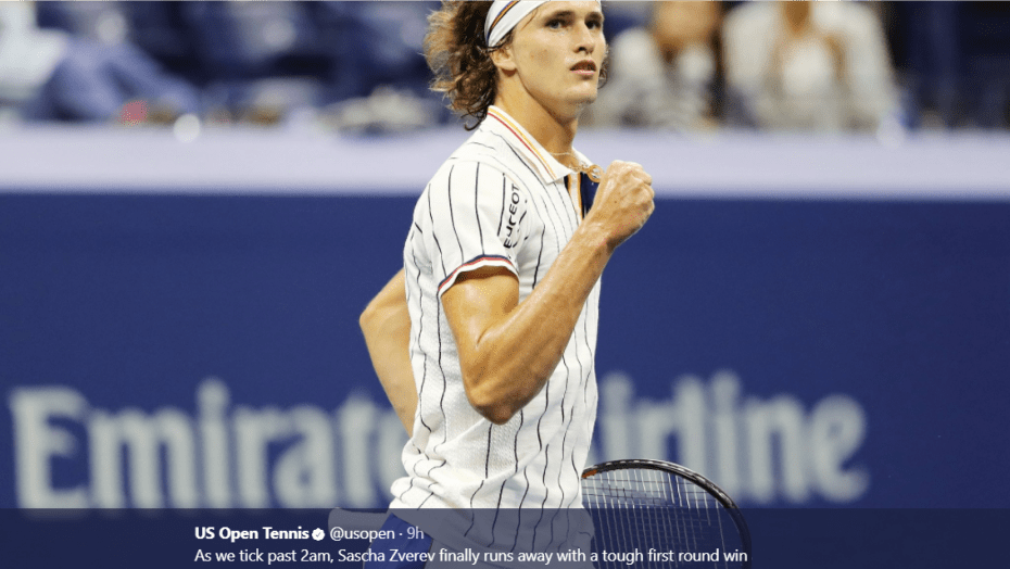 Andy Taylor. Tennis Announcer. 2017 US Open. Round-1. Day-1. Alexander Zverev defeats Darian King