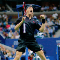 Andy Taylor. Tennis Announcer. 2017 US Open. Round-2. Day-3. Denis Shapovalov defeats Jo-Wilfried Tsonga