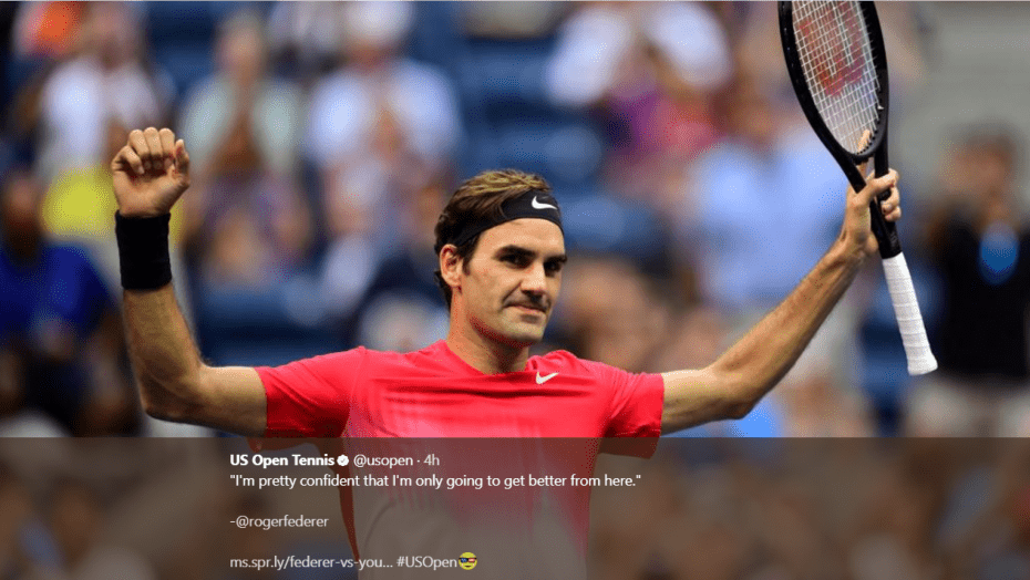 Andy Taylor. Sports Emcee. 2017 US Open. Round-2. Day-4. Roger Federer defeats Mikhail Youzhny