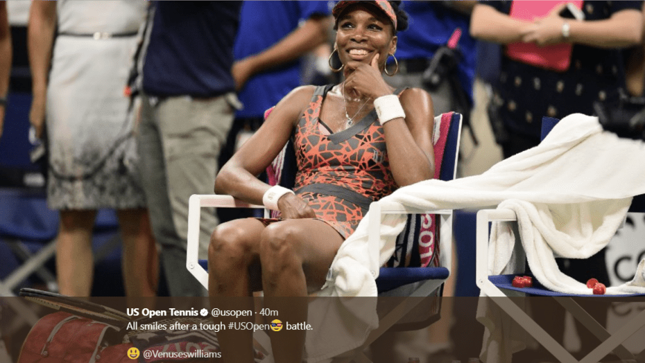 Andy Taylor. Tennis Emcee. 2017 US Open. Quarterfinal. Day-9. Venus Williams defeats Petra Kvitova