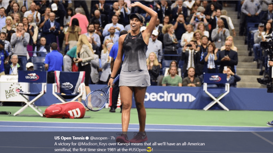 Andy Taylor. Host. 2017 US Open. Quarterfinal. Day-10. Madison Keys defeats Kaia Kanepi