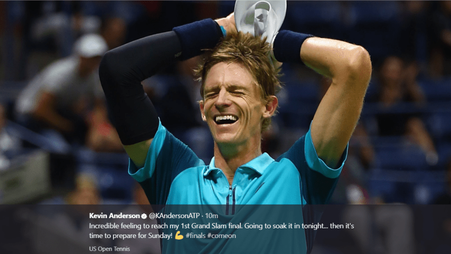 Andy Taylor. Tennis Emcee. 2017 US Open. Semifinal. Day-12. Kevin Anderson defeats Pablo Carreno Busta