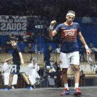Andy Taylor. Squash Host. Qatar Classic Squash Championship. Day 1. Round 1. Mohamed ElShorbagy