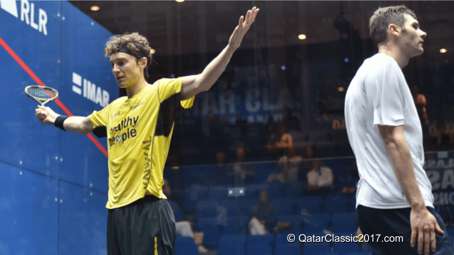 Andy Taylor. Emcee. Qatar Classic Squash Championship. Day 2. Round 1. Cameron Pilley