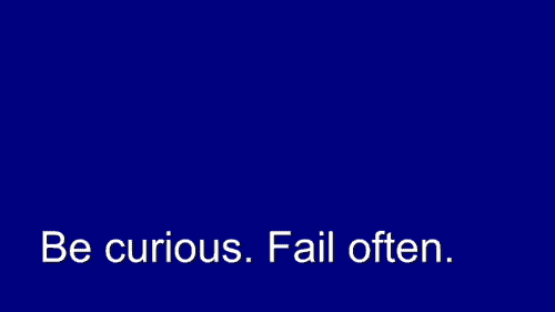 Relish. Be Curious. Fail Often