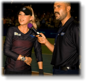 Anna Kournikova visits with Springfield Lasers fans