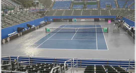 Fed Cup Delray Beach 2013. Rain interrupts play on Saturday