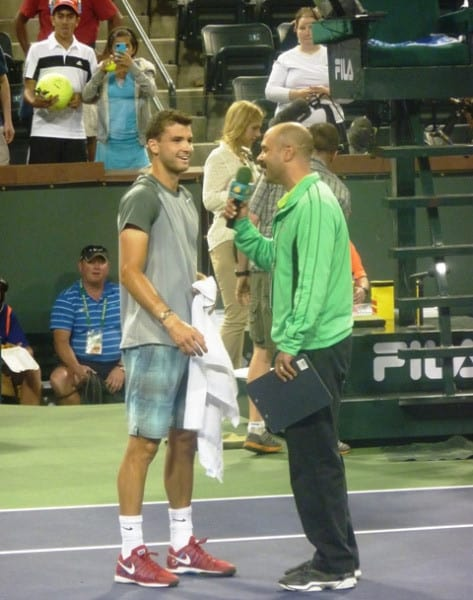 Indian Wells Stadium 2 Emcee Andy Taylor with Grigor Dimitrov