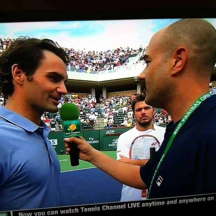Indian Wells Stadium 2 Emcee Andy Taylor interviews Roger Federer