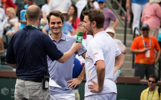 Stadium-2 Host Andy Taylor with Roger Federer and Stan Wawrinka