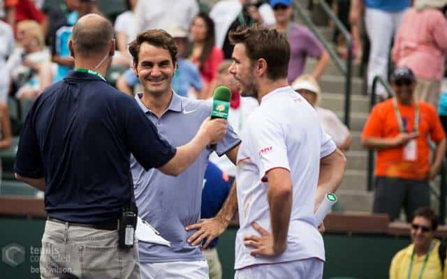 Indian Wells Stadium 2 Emcee Andy Taylor with Roger and Stan