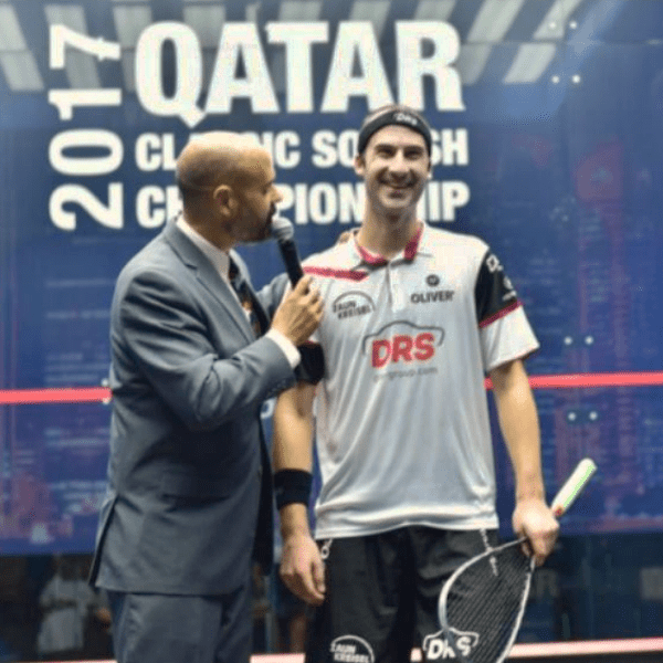Andy Taylor. Announcer. Qatar Classic Squash Championship. Day 3. Round of 16. Simon Rösner