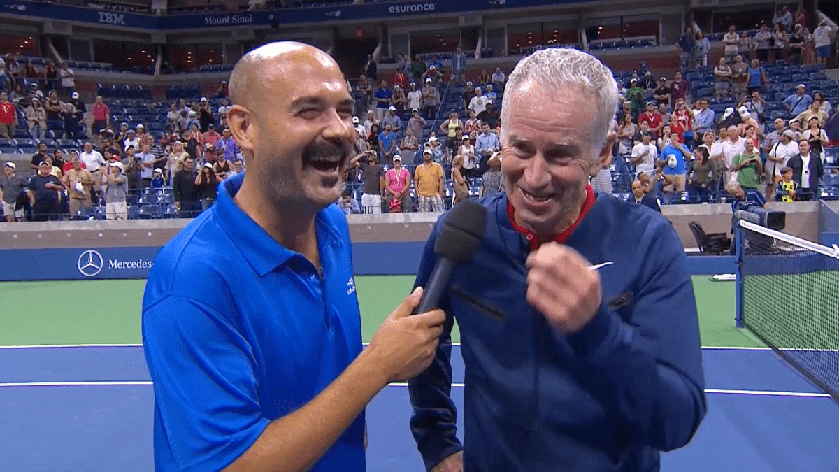 Announcer Interview. Legends Exhibition in Arthur Ashe Stadium