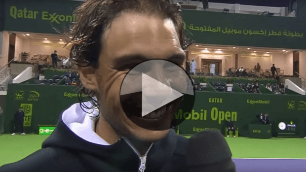 Rafael Nadal celebrates his first official win of 2016 in Doha