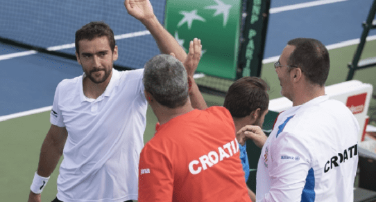 Davis Cup Portland 2016. High fives for Marin Cilic after an unexpected doubles victory