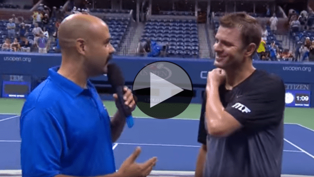 Announcer Andy Taylor with Mardy Fish at the US Open