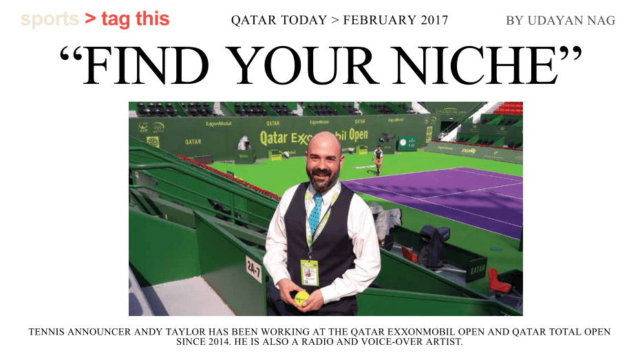 Andy Taylor. Announcer. Qatar ExxonMobil Open. Qatar Today
