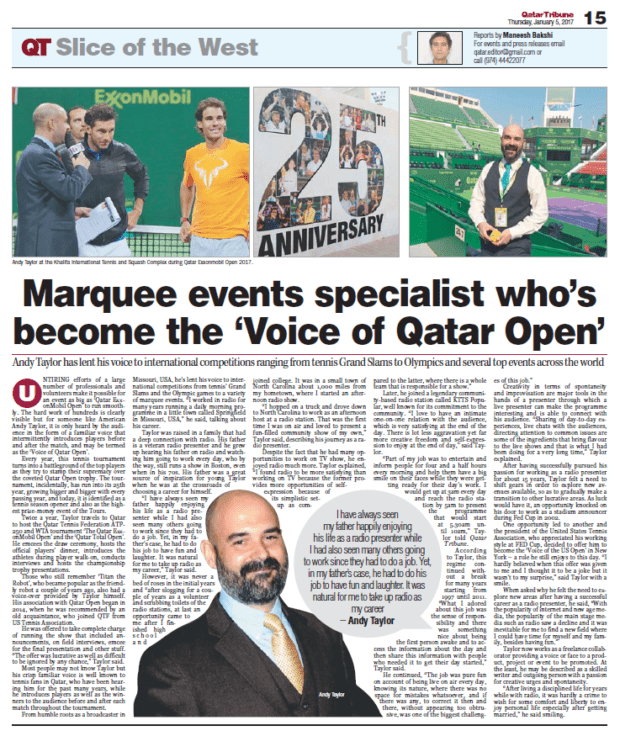 Qatar ExxonMobil Open 2017. Andy Taylor profiled in Qatar Today
