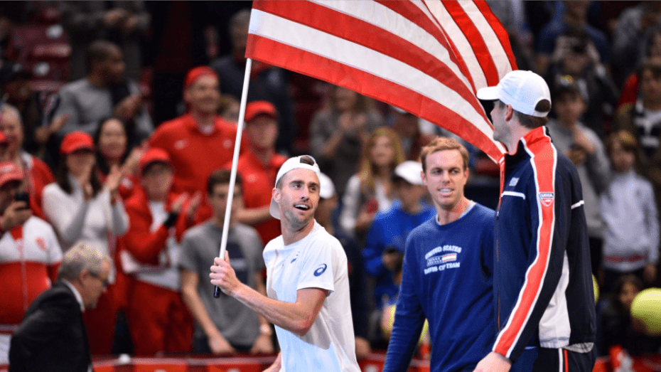 Davis Cup Birmingham 2017. Steve Johnson celebrates with Sam Querrey and John Isner