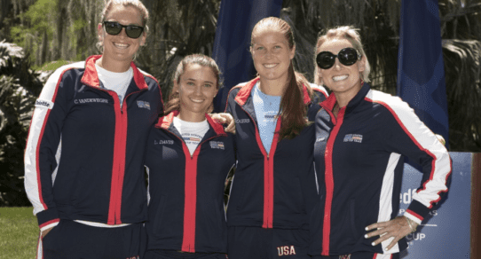 Fed Cup Tampa 2017. Team USA ready for action after the Draw / Photo: Susan Mullane CameraWorkUSA