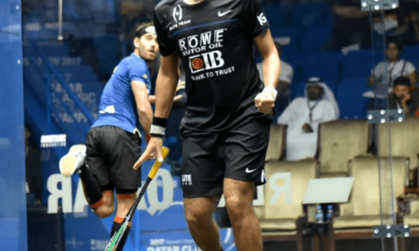 Andy Taylor. Squash Emcee. Qatar Classic Squash Championship. Day 2. Round 1. Karim Abdel Gawad
