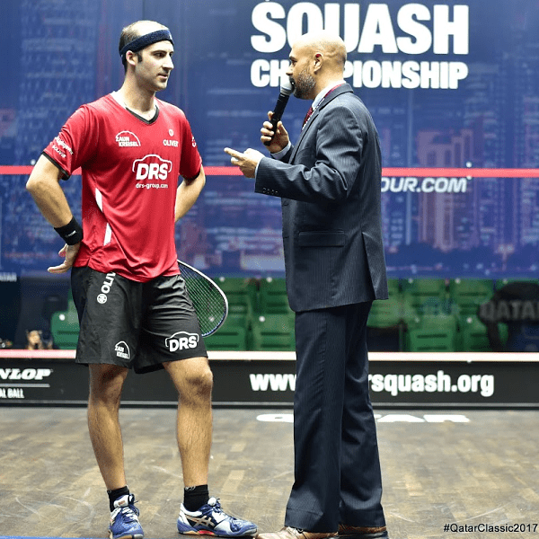 Andy Taylor. Announcer. Qatar Classic Squash Championship. Day 2. Round 1. Simon Rösner