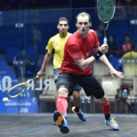 Andy Taylor. Sports Host. Qatar Classic Squash Championship. Day 3. Round of 16. Gregory Gaultier