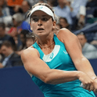 Andy Taylor. Tennis Emcee. 2017 US Open. Round-2. Day-4. Coco Vandeweghe defeats Ons Jabeur