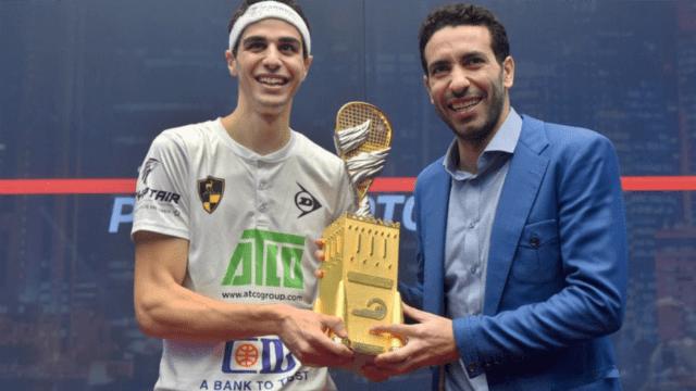 Andy Taylor Announcer 2018 Qatar Classic Championship Trophy Presentation Ali Farag