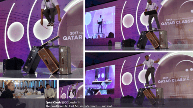 Andy Taylor. Emcee. Qatar Classic Squash Championship. Player Dinner Gala