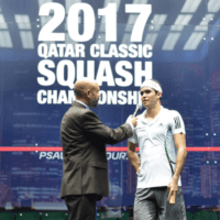 Andy Taylor. Sports Announcer. Qatar Classic Squash Championship. Day 1. Round 1. Diego Elias