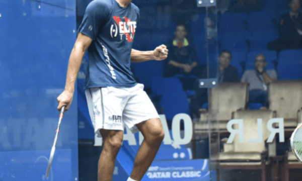 Andy Taylor. Sports Announcer. Qatar Classic Squash Championship. Day 2. Round 1. Tarek Momen