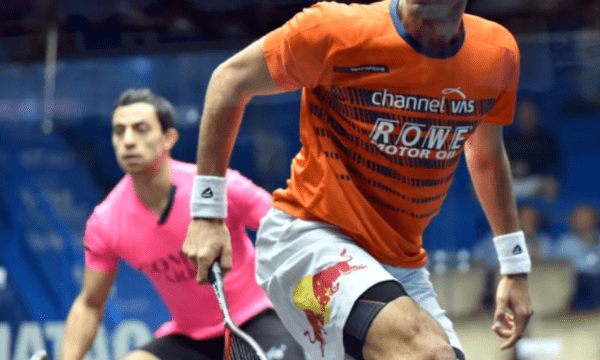Andy Taylor. Emcee. Qatar Classic Squash Championship. Day 3. Round of 16. Mohamed ElShorbagy