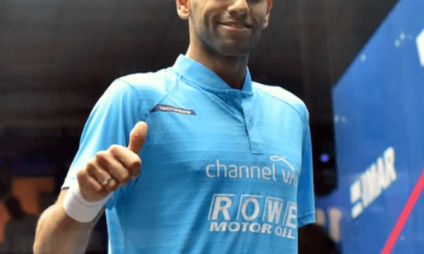 Andy Taylor. Squash Emcee. Qatar Classic Squash Championship. Day 4. Quarterfinals. Mohamed ElShorbagy