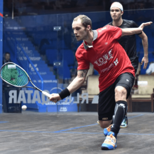 Andy Taylor. Host. Qatar Classic Squash Championship. Day 4. Quarterfinals. Gregory Gaultier