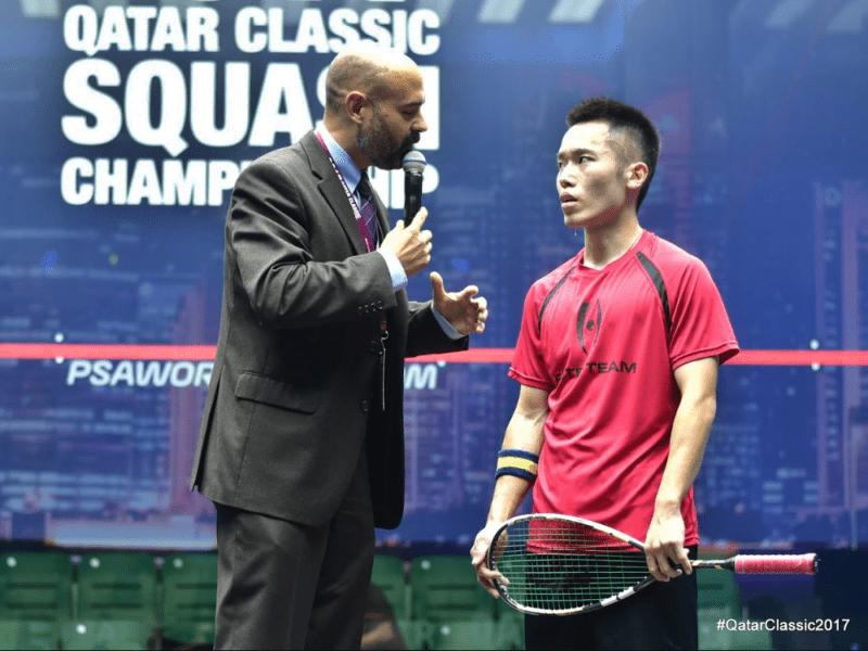 Andy Taylor. Host. Announcer. Qatar Classic Squash Championship 2017. Leo Au