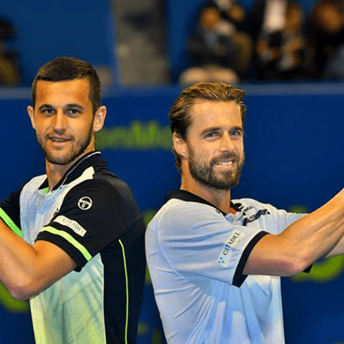 Andy Taylor. Announcer. Qatar ExxonMobil Open 2018. Day 5. Doubles Champions. Oliver Marach and Mate Pavic
