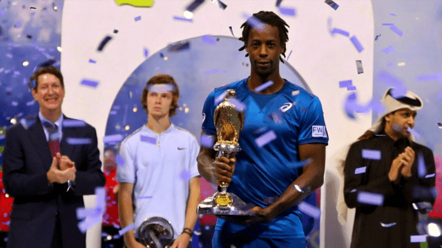 Andy Taylor. Host. Qatar ExxonMobil Open 2018. Day 6. Doha Champion. Gael Monfils