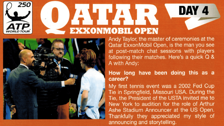 Andy Taylor. Announcer. Qatar ExxonMobil Open 2018. Day 4 Program Interview